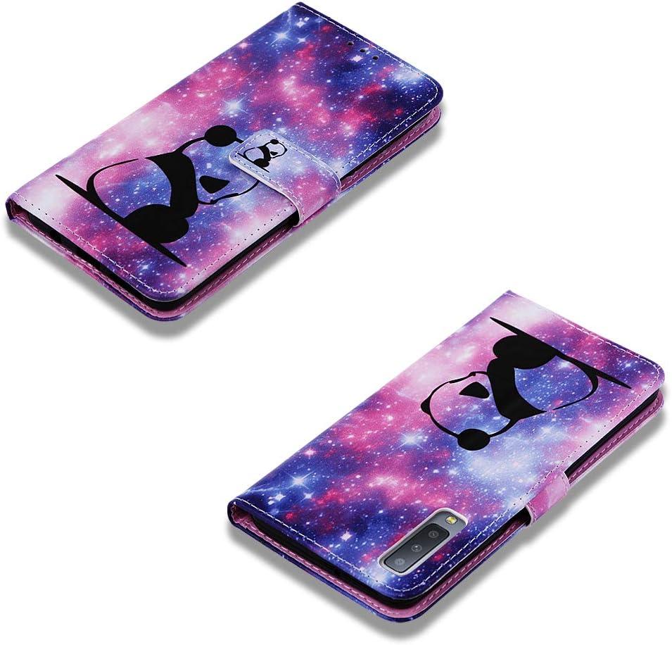 HUDDU H/ülle Kompatibel mit Samsung Galaxy A7 2018 Ledertasche Leder Wallet Flip Case f/ür Galaxy A750 Schutz Kartenfach Standfunktion Magnet Schutzh/ülle Ultra D/ünn Inner Silikon Wei/ße Tiger-Katze