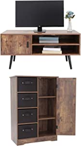 usikey Mid-Century TV Stand with 2 Storage Shelves & Dresser Storage Cabinet with 4 Removable Drawers, TV Console Cabinet, Retro Entertainment Center, Rustic Floor Cabinet, Rustic Brown