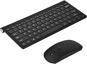 Richer-R Slim Waterproof 2.4GHz Wireless Keyboard and Mouse Combo with 12 multi-media keys for Desktop Laptop Apple Macbook PC Win XP/7/8 (Black)