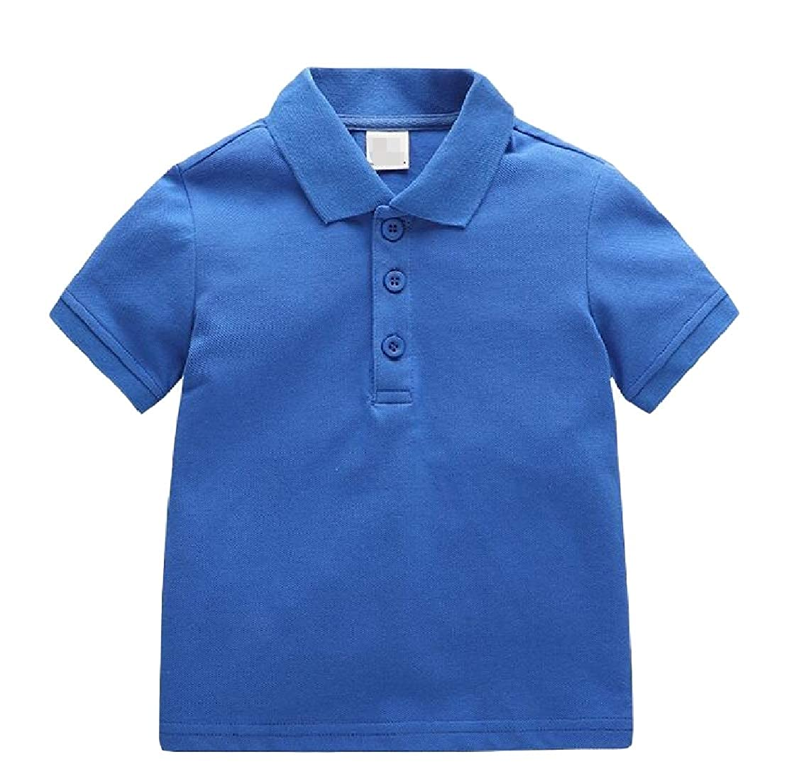 Lutratocro Boys Polos Short Sleeve Pure Color Pullover Lovely Lapel Shirts
