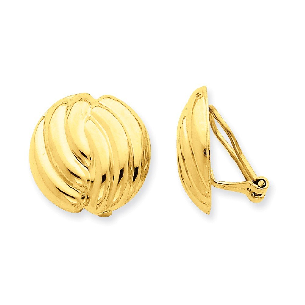 14k Omega Clip Polished Non-pierced Earrings, 14 kt Yellow Gold