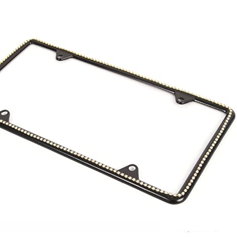 Amazon.com: Clear Diamond Silver Bling Jewel Slim Black License ...