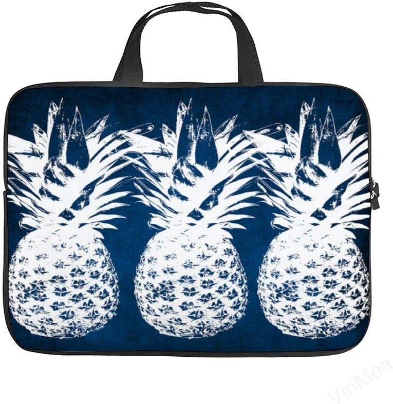 Laptop Sleeve Handle Bag Indigo and White Pineapples Neoprene Case Protective Bag,Portable MacBook Laptop,Ultrabooks Case Bag Cover 12 Inch