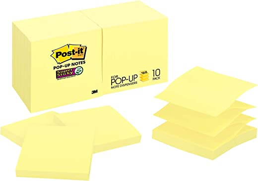 Post-it Super Sticky Pop-up Notes, Canary Yellow, Sticks and Resticks, Great for Windows, Doors and Walls, 67% Plant-Based Adhesive by Weight, 3 in. x 3 in, 10 Pads/Pack, 100 Sheets/Pad (R330-10SSCY)
