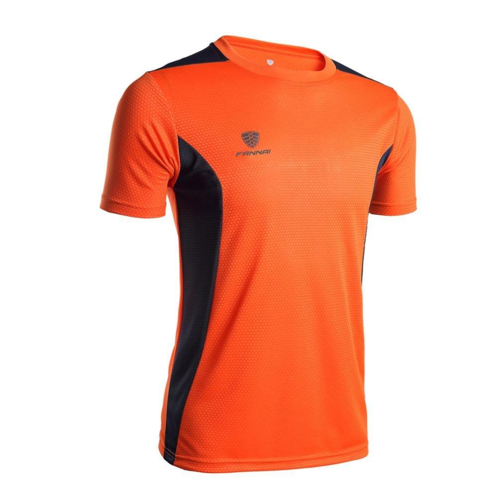 Cinnamou Mode Homme Sport T-Shirt /à S/échage Rapide dentra/înement Fitness Sports Gym Running Chemise Athl/étique S/échage Rapide Top Blouse