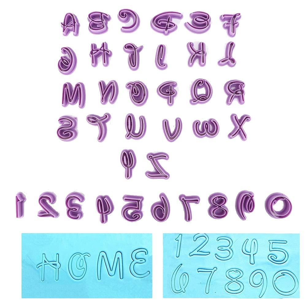 26 Lettere + 9 Numeri Deanyi Lettere 3D Numeri stampi a Forma di Torta del Silicone del Fondente della Muffa Torta Lavora Decorazione 36 PCS
