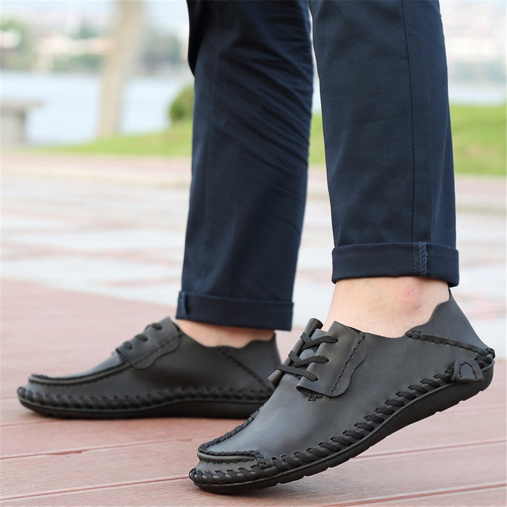 BIFINI Mens Fashion Outdoor Cowhide Driving Moccasins Shoes Black