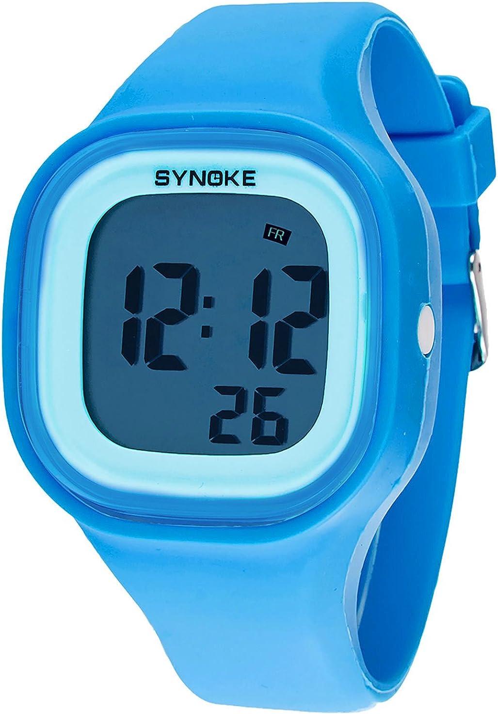 SYNOKE - Reloj Candy digital unisex, estilo deportivo, correa de silicona, sumergible a 50 m, esfera cuadrada extraíble, multifunción, retroiluminado, cronómetro, alarma, varios colores