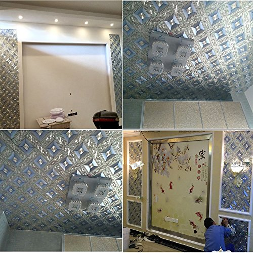 QIHANG Luxury Silver Foil Mosaic Square Lattice Background Flicker Wallpaper Gold Leaf Wallpaper Modern Roll/hotel Ceiling/decorative Wallpaper Roll Silver&Blue Color 1.73' W x 32.8' L=57 sq.ft by QIHANG (Image #4)