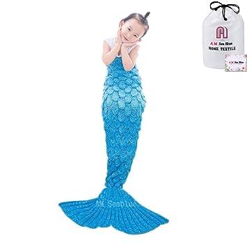 Mermaid Schwanz Strickdecke Für Kinder Häkeln Meerjungfrau Schwanz
