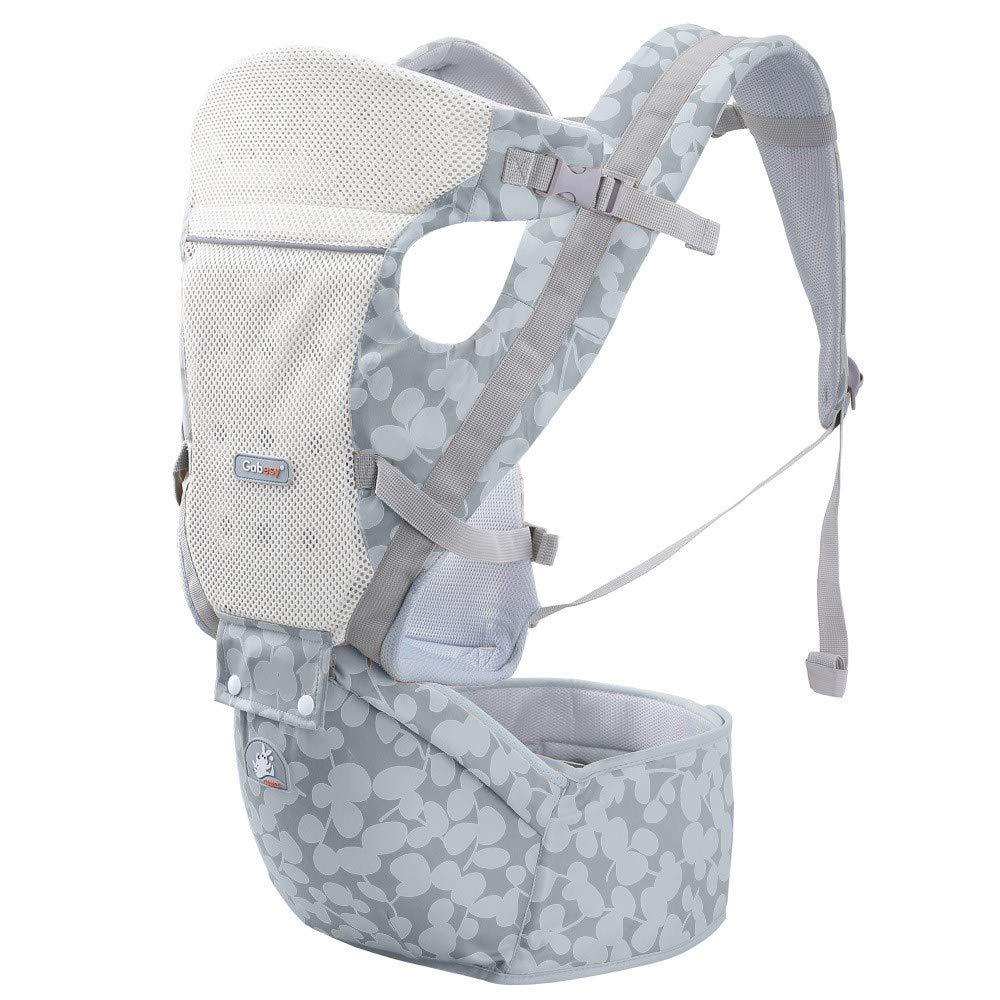 Atmungsaktive Multifunktions-Babytrage bis zu 3 Jahren (10-50 lbs), ergonomische Tragepositionen, Silbergrau
