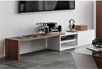 TemaHome Meuble TV modulable Move Blanc et Noyer avec1 Porte coulissante 3e7bfd340832