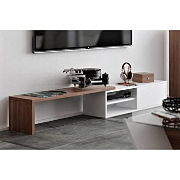 TemaHome meuble TV modulable MOVE blanc et noyer avec1 porte