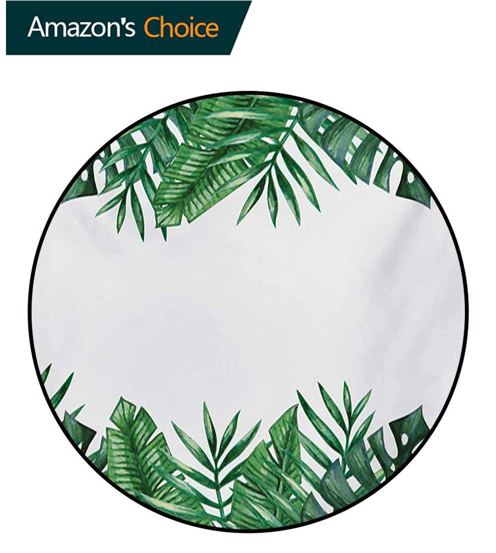 RUGSMAT Palm Leaf Modern Washable Round Bath Mat,Framework with Rainforest Foliage Leaves in Watercolors Non-Slip Bathroom Soft Floor Mat Home Decor,Diameter-59 Inch Hunter Green Forest Green White