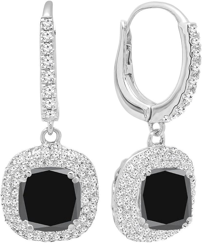 DazzlingRock Collection 14K Oro 6MM Cada Piedra Preciosa del Amortiguador y Mujer Redondas del Diamante halo Pendientes Colgantes Negro Zafiro