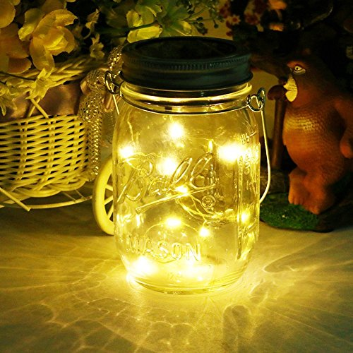 Solar Mason Jar Light ,20Leds String Glass Lantern Outdoor Hanging, Decorative String Fairy Lamp for Patio Garden Party