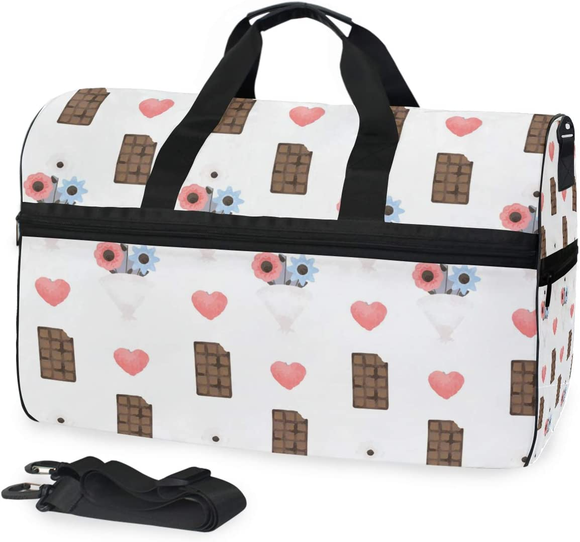 Travel Duffels Flower Chocolates Duffle Bag Luggage Sports Gym for Women /& Men
