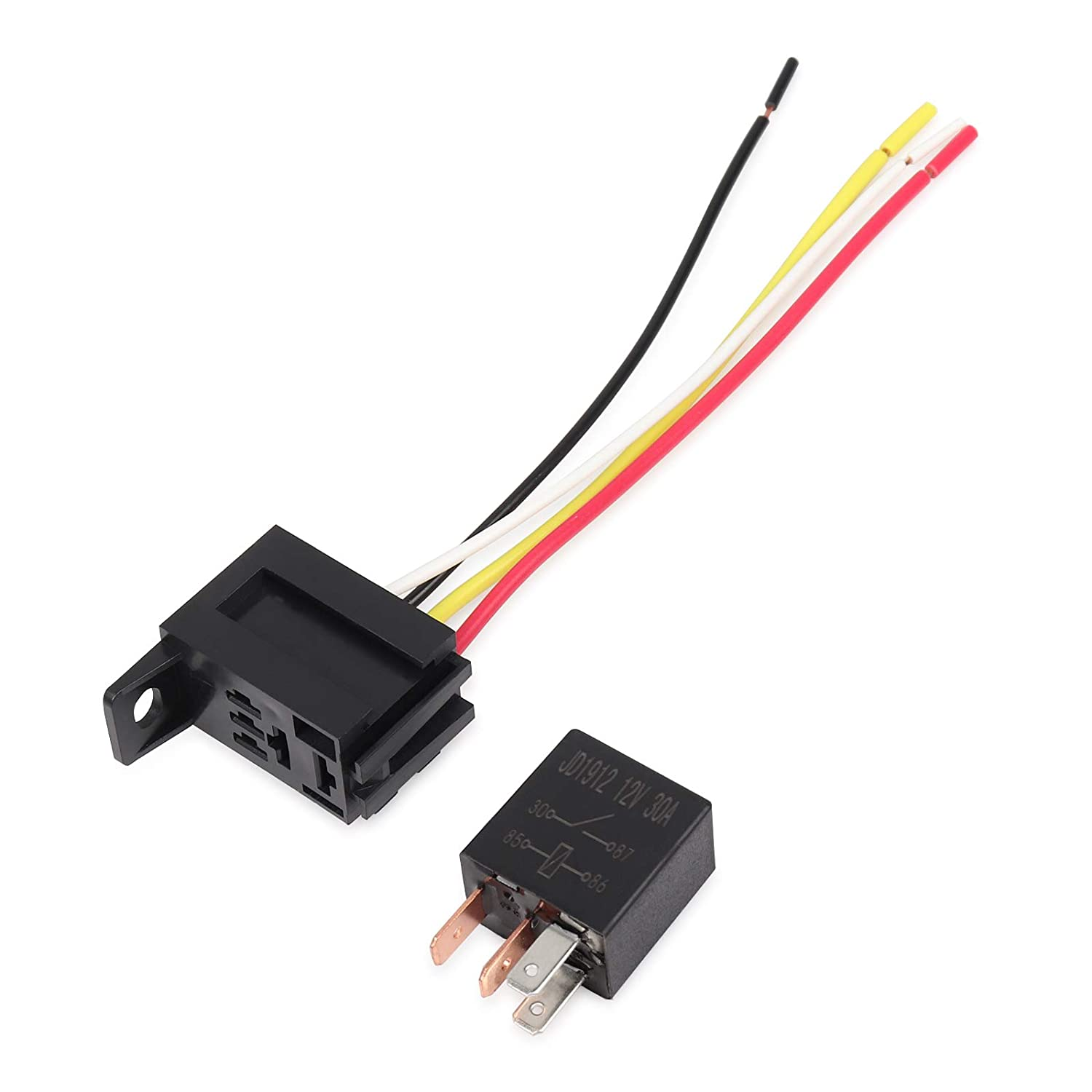 Pack of 2 Ehdis 4 Pin Wires Cable Relay Socket Harness Connector 12VDC 30A SPST Multi-Purpose Heavy Duty Standard Relay Kits for Car Automotive
