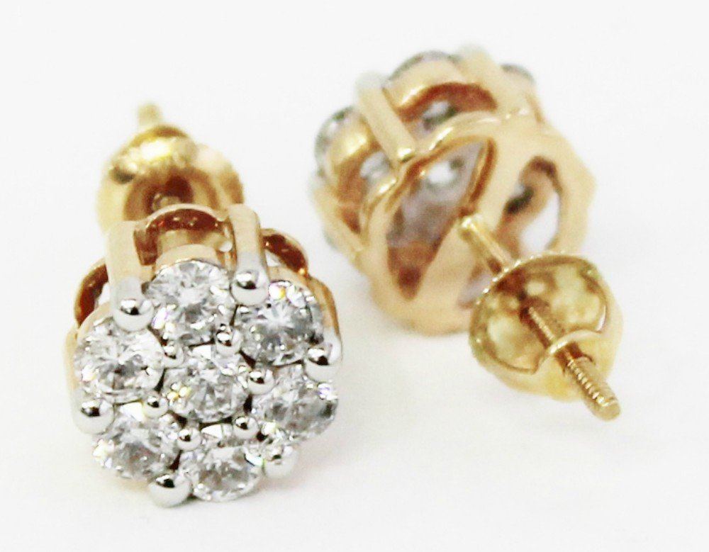 0.75ctw Cluster Natural Diamond Round Cut Flower Studs Earrings 14K yellow Gold (3/4 ctw) by Zacks Fine Jewelry (Image #2)