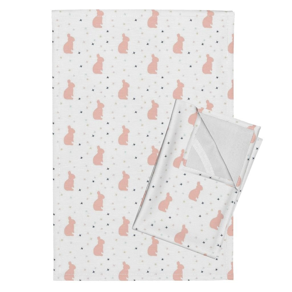 Roostery Briar Woods Bunnies Bunny Tea Towels Bunnies White by Littlearrowdesign Set of 2 Linen Cotton Tea Towels