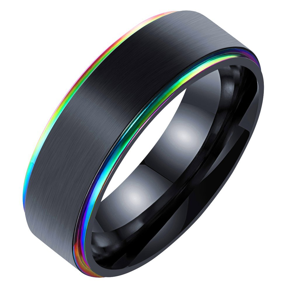 Onefeart Stainless Steel Ring For Men Boy Simple Style Colored Edge Design Colorful Size11 Hypoallergenic