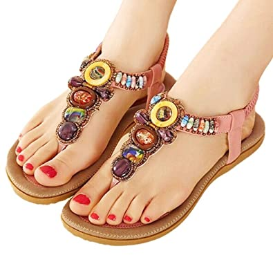 eb2224c89a5 Women s Bling Crystal Rhinestone Silver Flip Flops Flat Sandals Ankle Strap  Open-Toe Shoes in