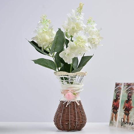 Amazon Com Aunmas Decorative Artificial Flower 5 Heads Plastic Hydrangea Bouquet Fake Hyacinth Flower Arrangement For Garden Home Decoration Wedding Party Decor Home Kitchen