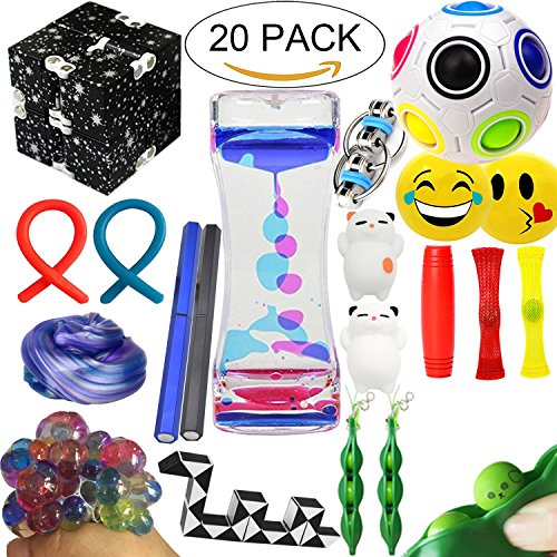 The Ultimate Sensory Fidget Toys Kit 20 Packs Fidget Cube/Slime/Infinity Cube/Liquid Motion Bubbler/Squishy Ball/Squeeze Bean/Rainbow Magic Balls/Twisted Toy For Kids&Adult Add Adhd Stress Relax Prime