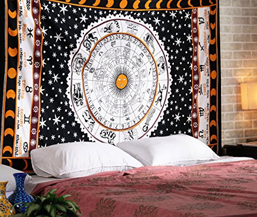 Sun Moon Tapestry Celtic Zodiac Horoscope Tapestries Indian Astrology Hippie Wall Hanging Divine Ethnic Decorative Gift By (Celtic Sun Moon)