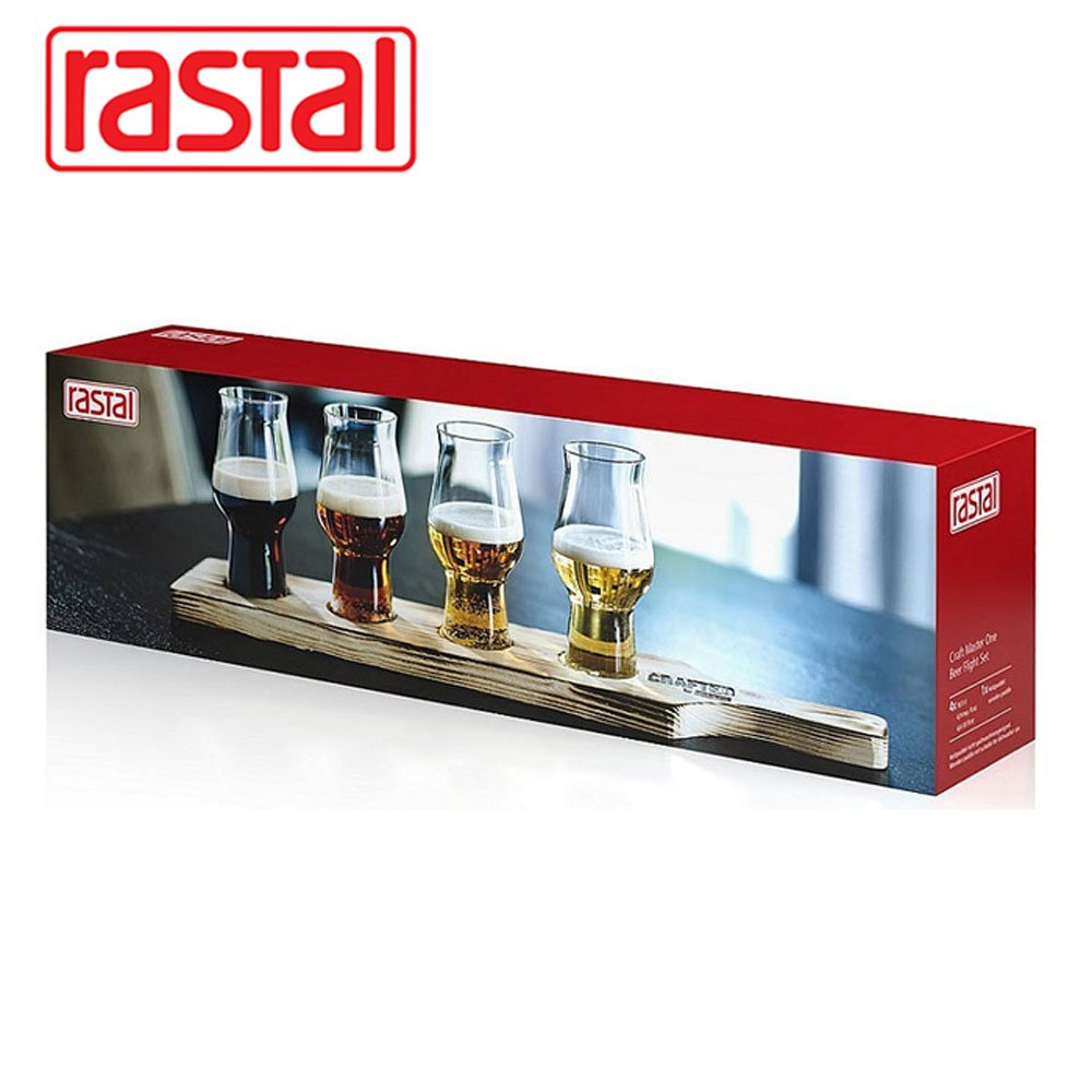 Rastal Beer Flight Set 4x0,195l and Tasting Panel