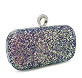 Glitter Sequins Evening Clutch Minaudiere Womens Cocktail Party Chian Purse -  Hoxis