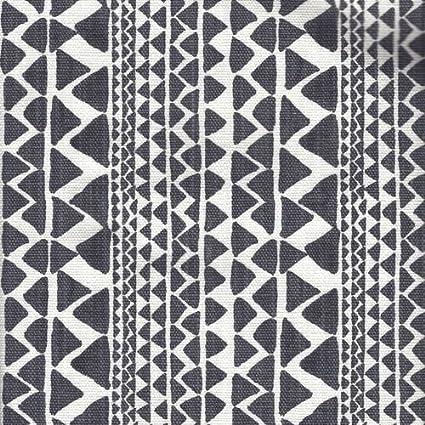 Close to Custom Linens Tie Up Valance Mario Black Flame Geometric Dark Gray Slub Linen with Paco Black Flame Ties Lined