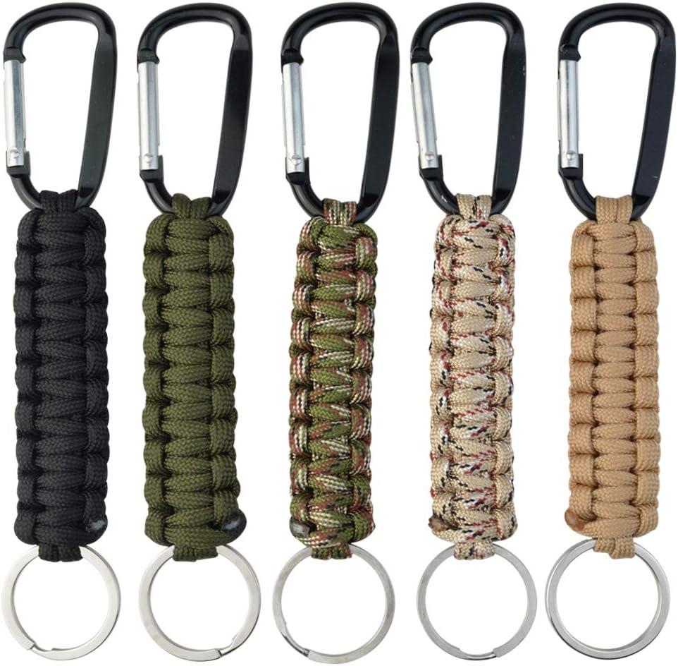 5 llaveros de cuerda de paracaídas con mosquetón trenzado para llavero, ganchos, kit de supervivencia, para llaves, camping, senderismo, mochila, para hombres y mujeres, 5 colores: Amazon.es: Equipaje