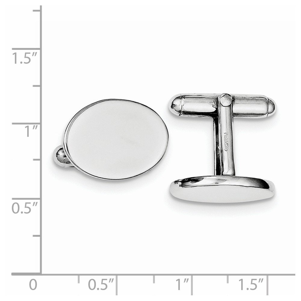 Sterling Silver Rhodium Plated Oval Cuff Links