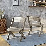Estelle Indoor Farmhouse Acacia Wood Chairs (Set of 2), Light Grey