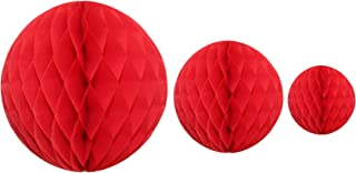product image for Red Honeycomb Balls, Set of 3 (12 inch, 8 inch, 5 inch)