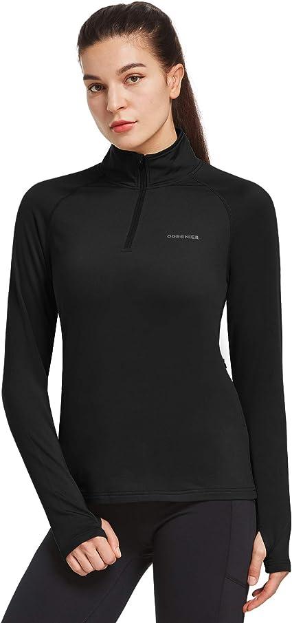 Womens Running Top Active Sportswear Long Sleeve Training Quarter Zip Thermal