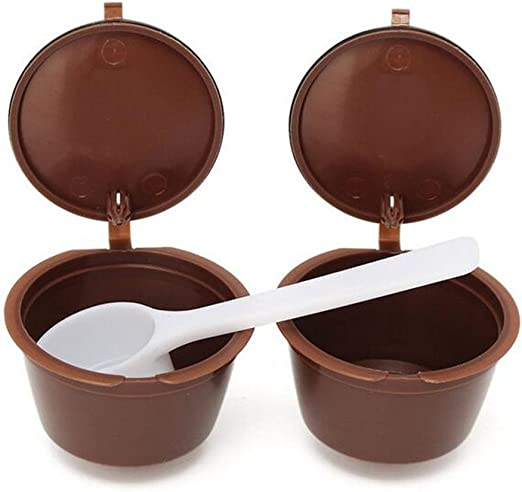 2pcs, rellenable, Cápsulas de Café tazas café filtro cestas + filtro de recambio cuchara para cafeteras Dolce Gusto reutilizable de plástico taza: Amazon.es: Hogar