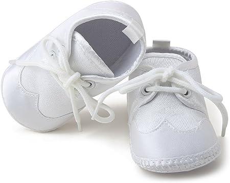 DELEBAO Zapatillas de Bautizo para bebé, con cordón, satén