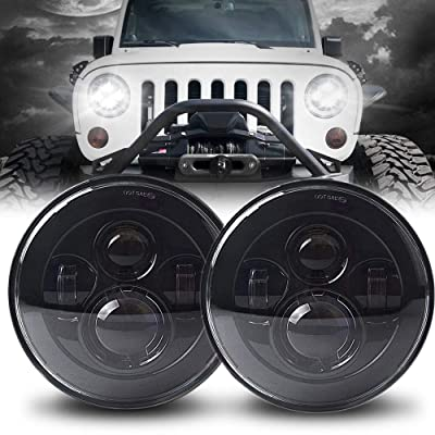 7 Inch Pair Round LED Headlight for Jeep Wrangler JK TJ LJ CJ Hummber H1 H2 with High Low Beam Black(2pcs): Automotive