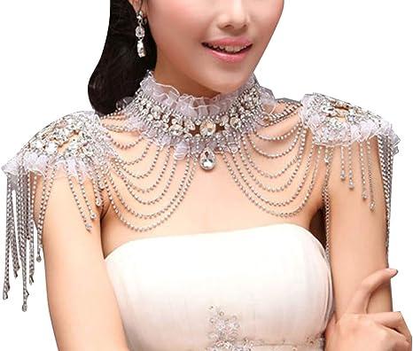 Bridal Silver Tone Necklace Shoulder Chains Shoulder Jewelry Clear Crystal Shoulder Necklace Body Chains Rhinestone Silver Necklace