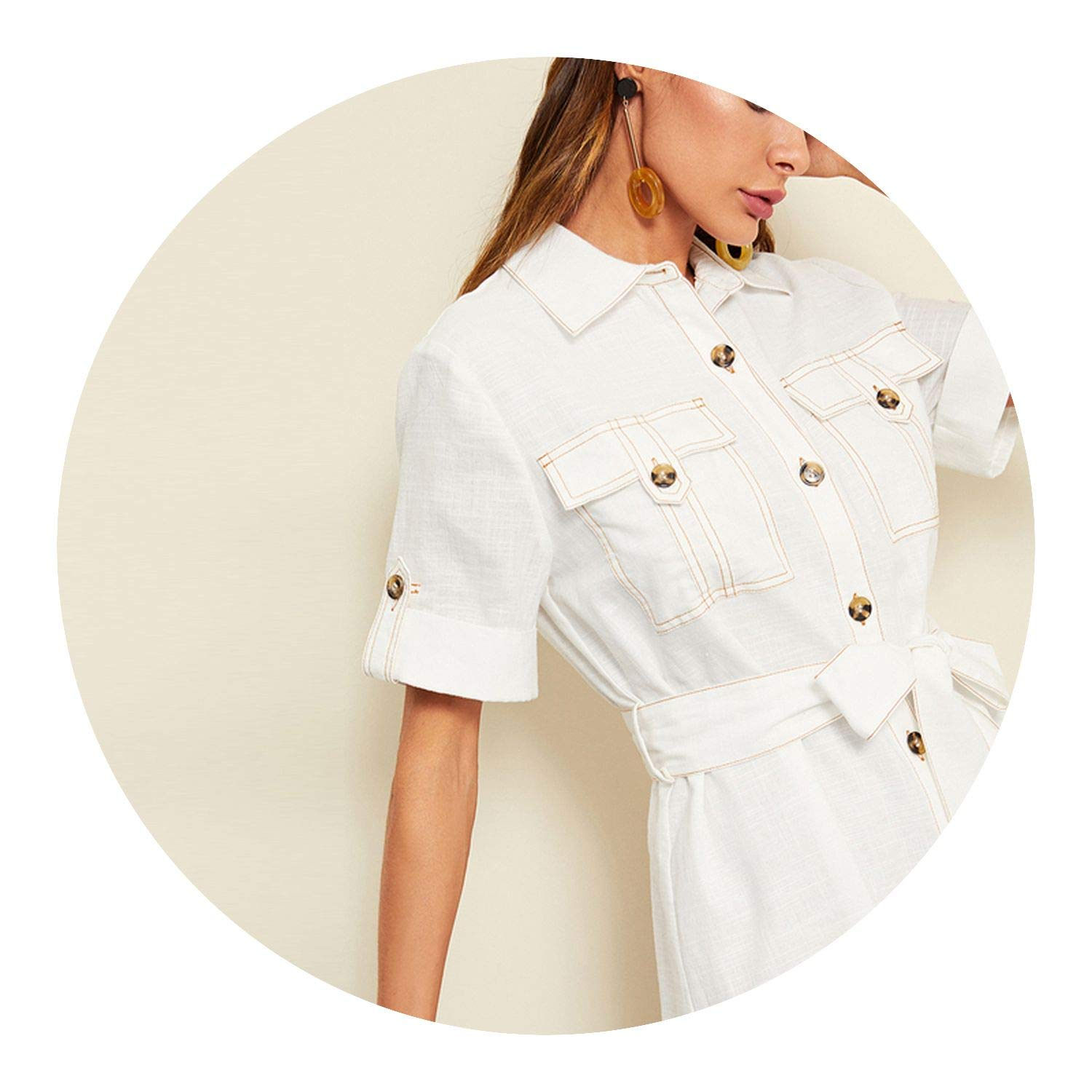 Beige Highstreet Rolled Tab Sleeve Pocket Front Shirt Minimalist Belted Solid