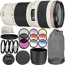 Canon EF 70-200mm f/4L USM Lens 10PC Filter Kit. Includes Canon EF 70-200mm f/4L USM Lens + 3PC Filter Kit (UV-CPL-FLD) + 4PC Macro Filter Set (+1,+2,+4,+10) + 6PC Graduated Filter Kit + More - International Version (No Warranty)