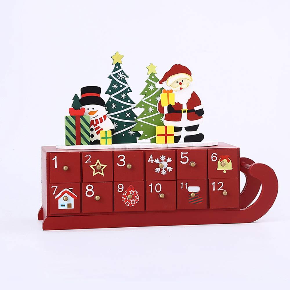 Xmas Lxr Caja De Almacenamiento con Trineo De 24 Cajones para La Decoración Navideña, Cuenta Regresiva, Caja De Dulces para Niños Adorno De 53 X 36 X 54 Cm
