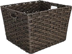 Home Basics X-Large Faux Rattan Basket, Coffee