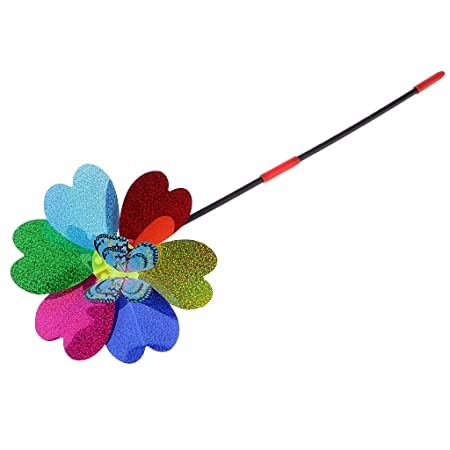 Divine Overseas 1 Piece Colorful DIY Sequins Butterfly Windmill Pinwheel Kids Lawn Playground Toy Garden Ornament Random