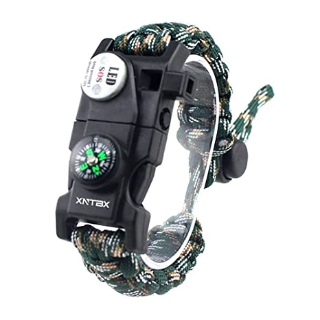 Paracord 550 Armband-Set verstellbar Survival Armband - (SOS LED-Licht, Kompass, Fire Starter, Trillerpfeife, Schaber, Messer) - von xntbx - Beste ...