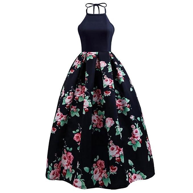 BBestseller Vestido Para Mujer, Mujeres sexy floral impreso Vestido largo sin mangas vestido de fiesta noche playa maxi Lace-Up bodas vestidos de fiesta ...