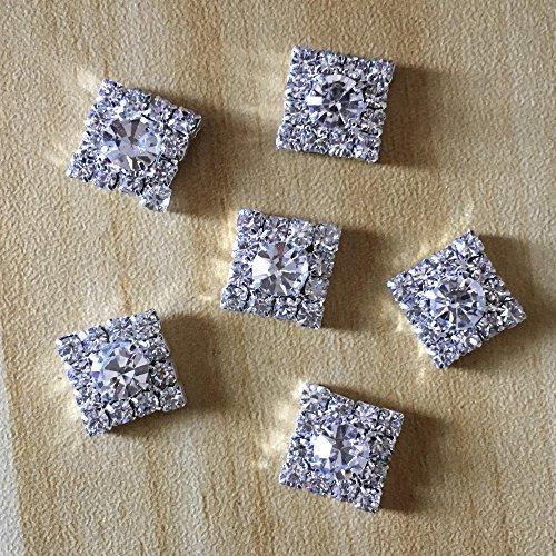 Silver Tone Clear Crystal Rhinestone DIY Embellishments Flatback Buttons Hair Accessories ()