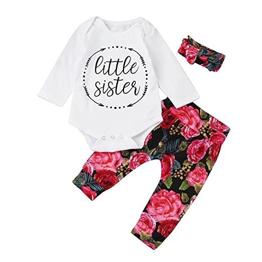 7ab5885bd2d28 Amazon.com: 3pcs Toddler Infant Baby Girls Floral Clothes Set Tops+Pants+Headband  Outfits: Clothing